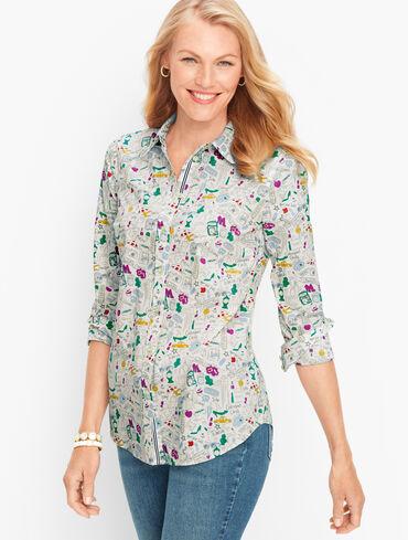 NYC Doodle Cotton Button Front Shirt