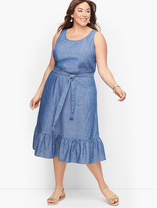 Denim Flounce Hem Dress