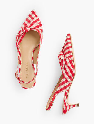 Sylvie Side Knot Slingbacks - Gingham