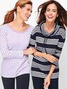 Multi Stripe Cowlneck Pullover