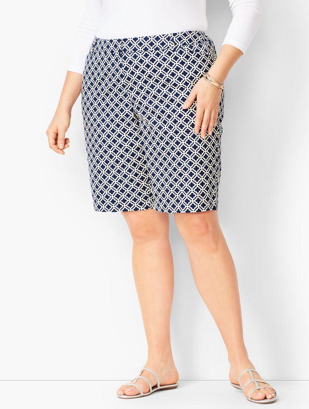 Perfect Shorts - Bermuda Length - Geo Tile Print