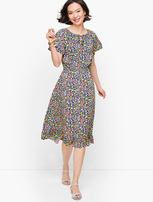 Floral Gathered Tie Neck Dress