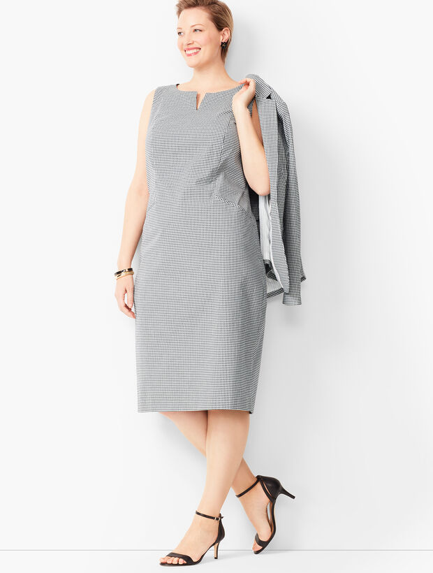 Tailored Gingham Sheath Dress