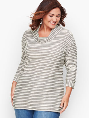 Reverse Terry Stripe Cowl-Neck Top