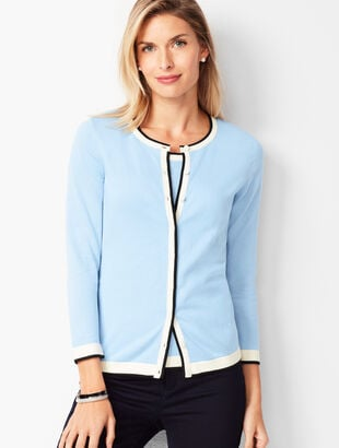 Charming Cardigan - Three-Quarter Sleeve - Tipped