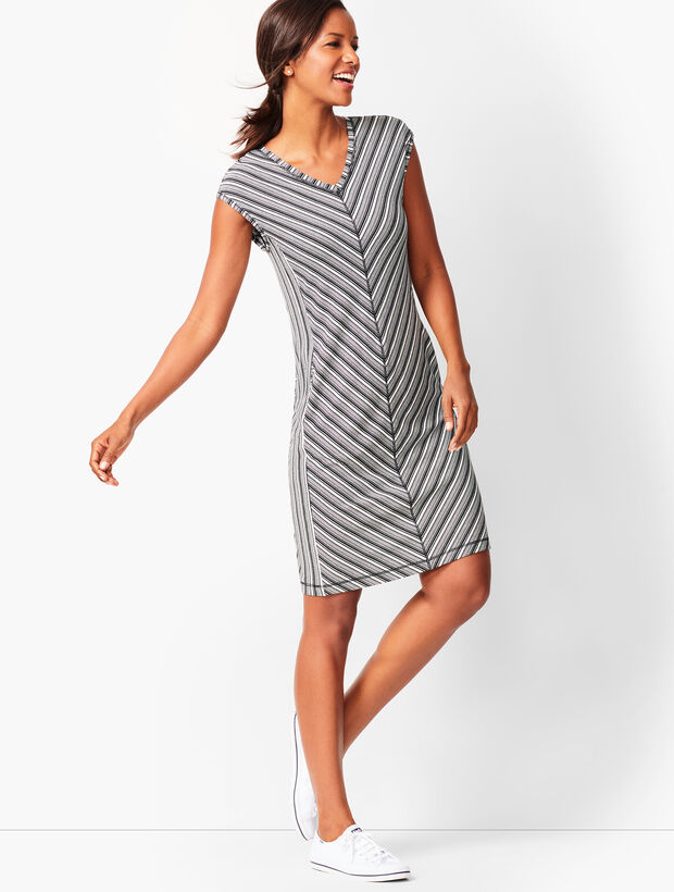 Mixed-Stripe Shift Dress