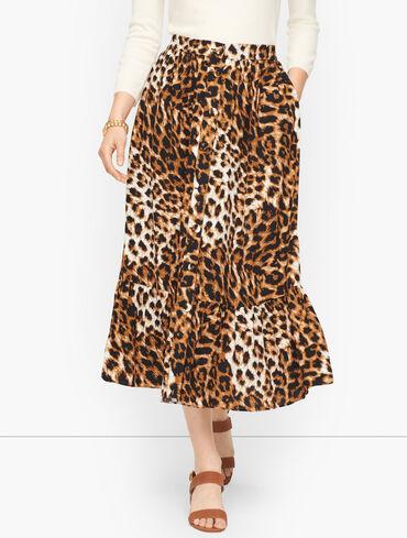 Button Front Midi Skirt - Animal Print
