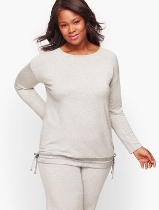 Cozy Soft Woven Hem Knit Pullover