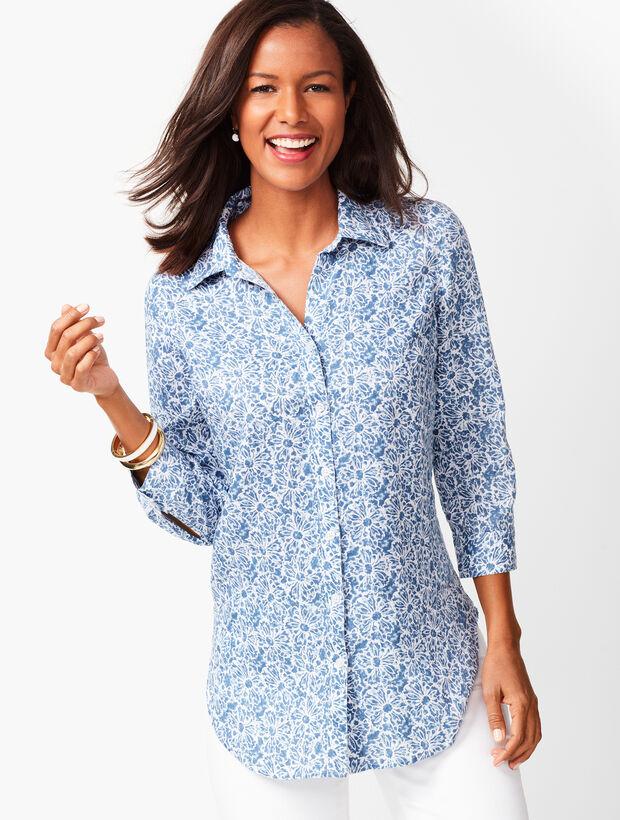 Button-Back Linen Tunic - Batik Floral