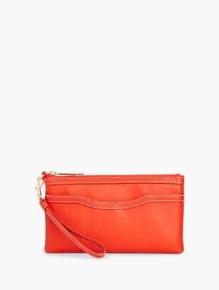 Pebble Leather Zip-Top Wristlet