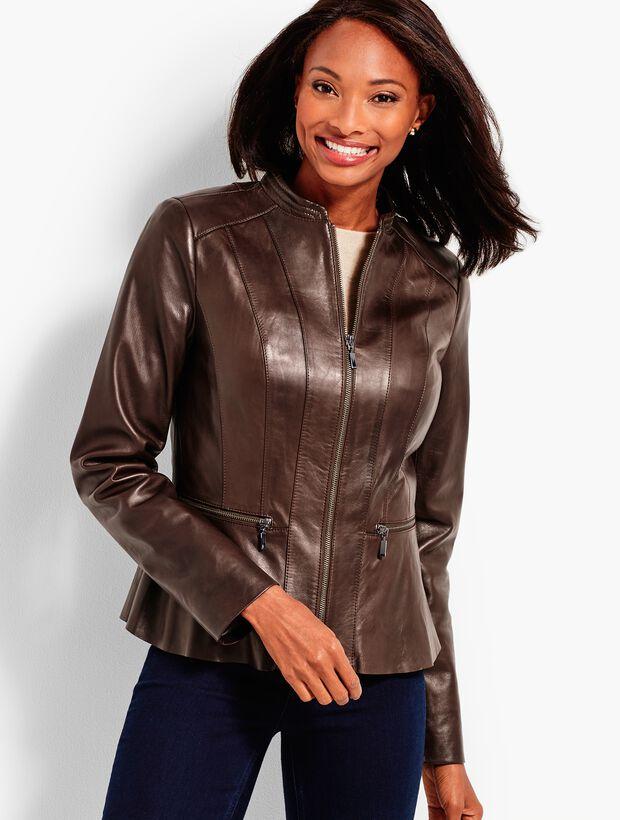 Leather Peplum Zip Jacket