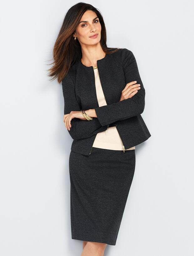 Luxe Herringbone Knit Zip-Front Jacket