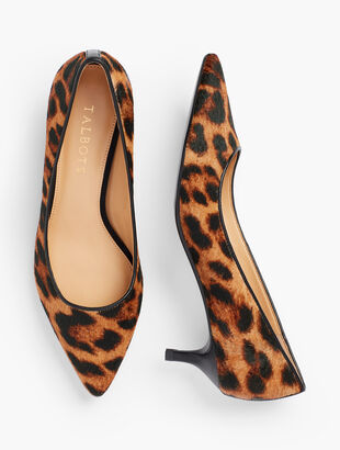 Sylvie Kitten Heel Pumps - Calf Hair