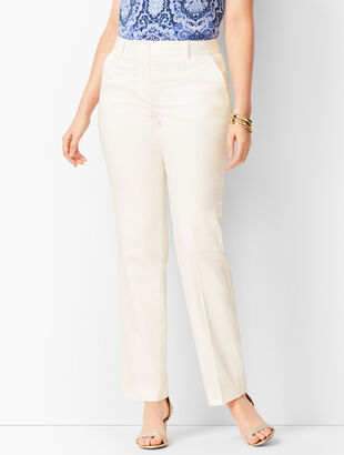 Monterey Cotton Straight-Leg Pants - White/Curvy Fit