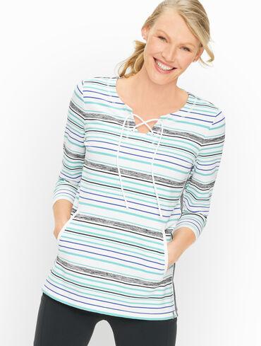 Preppy Stripe Lace-Up Pullover