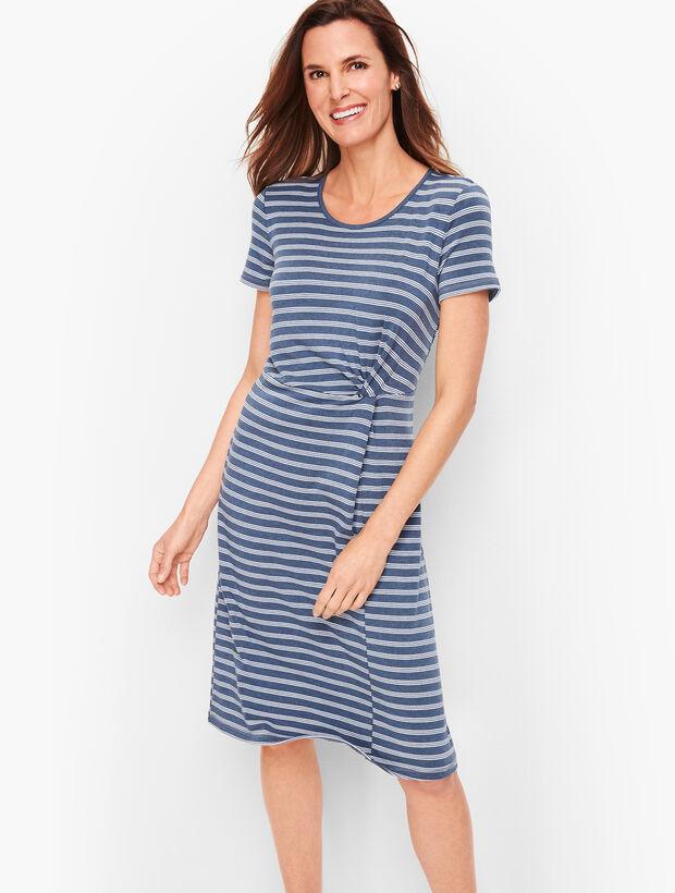 Stripe Fluid Knit Twist Dress