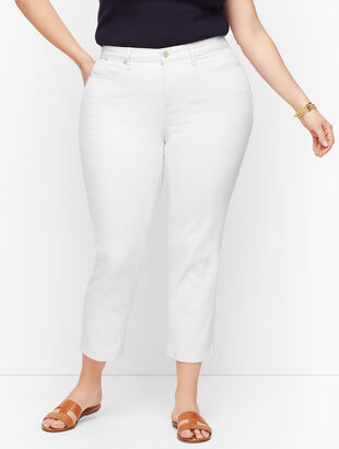 Straight Leg Crop Jeans - White & Vanilla