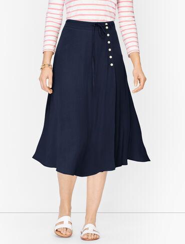 Wraparound Side Button Midi Skirt - Solid