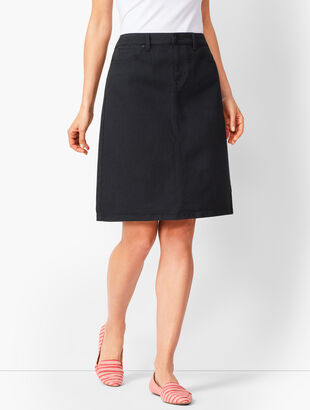 Classic Denim A-Line Skirt - Never Fade Black