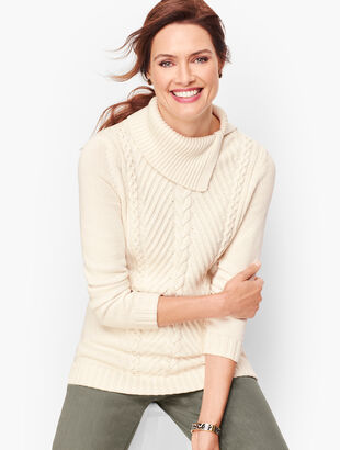 Split Cowlneck Cable Sweater