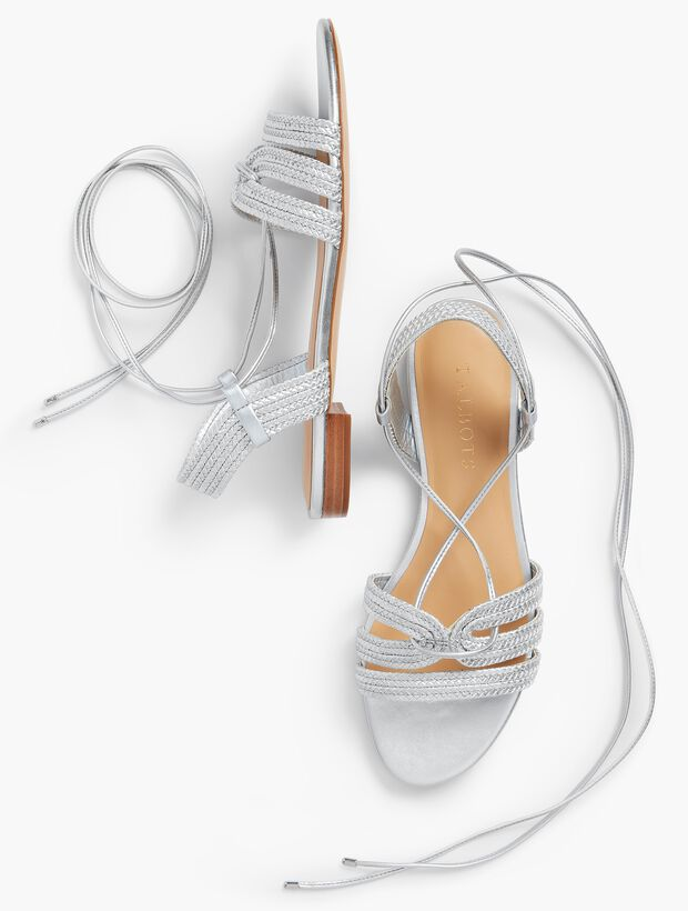 Keri Braided Lace-Up Sandals-Metallic