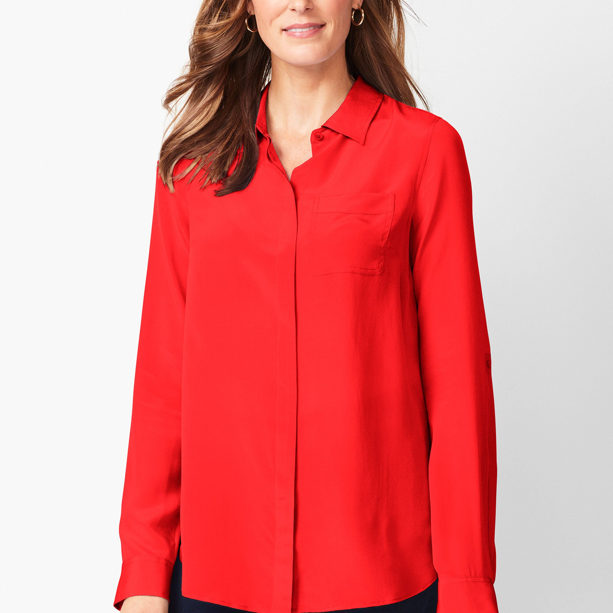ac2c623feba5d Washable-Silk Button-Down Shirt - Solid Opens a New Window.