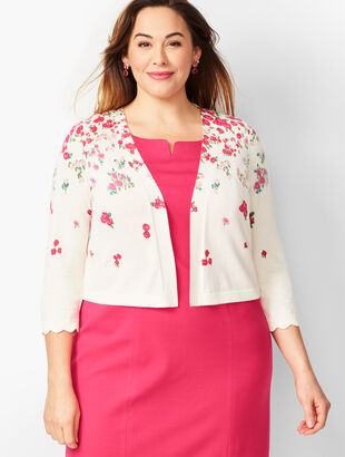 Plus Size Scallop-Edge Shrug - Floral