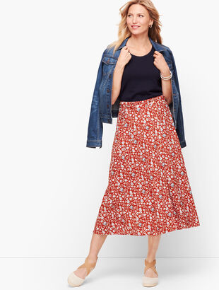Floral & Vines Wrap Midi Skirt