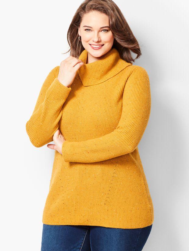 Tweed Shaker-Stitch Cowlneck Sweater