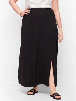 Jersey Faux Wrap Maxi Skirt