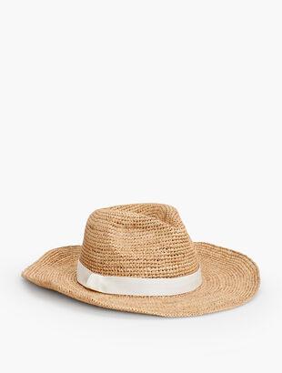 Wide-Brim Crochet Raffia Rancher Hat