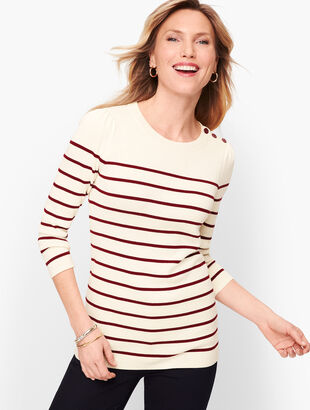 Button Shoulder Stripe Sweater