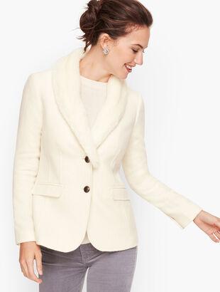 Faux Fur Collar Shetland Wool Blazer