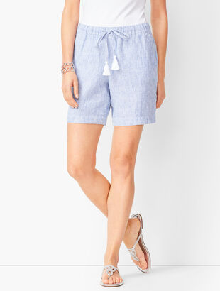 Drawstring Washed-Linen Shorts - Stripe