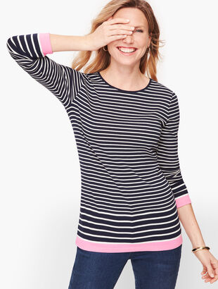 Long Sleeve Cotton Tee - Eastport Stripe