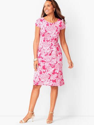 Knit Jersey Tie-Front Paisley Dress