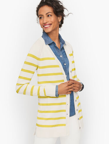 Raglan Girlfriend Cardigan - Clean Stripe