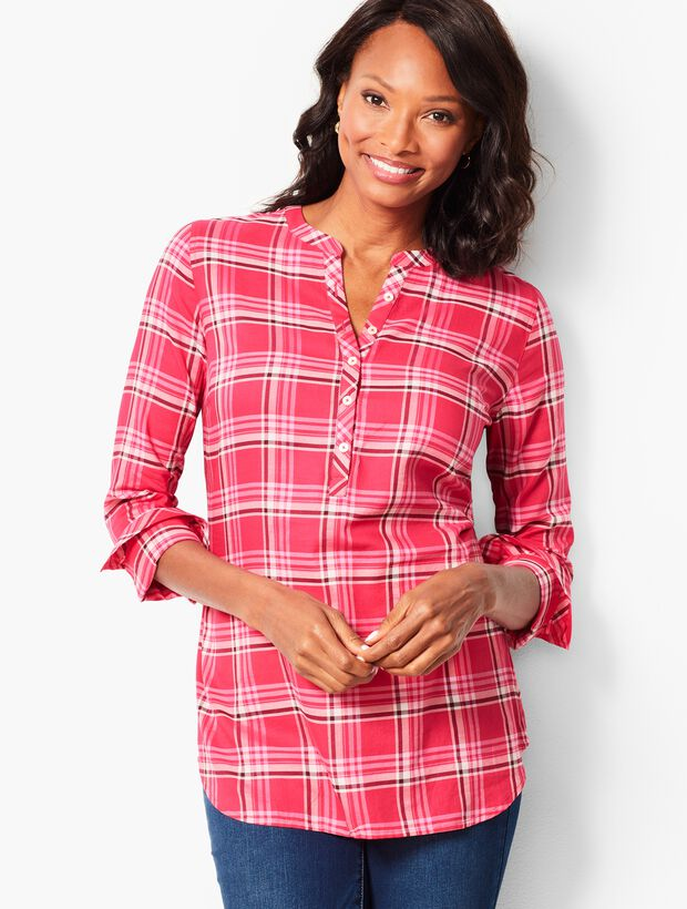Hawthorne Rose Plaid Band-Collar Popover