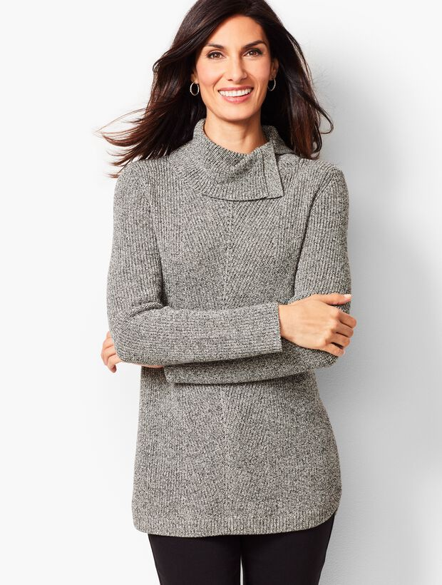 Shaker-Stitch Cowlneck Sweater - Marled