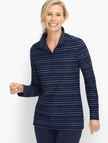 Multi Stripe Button Placket Pullover