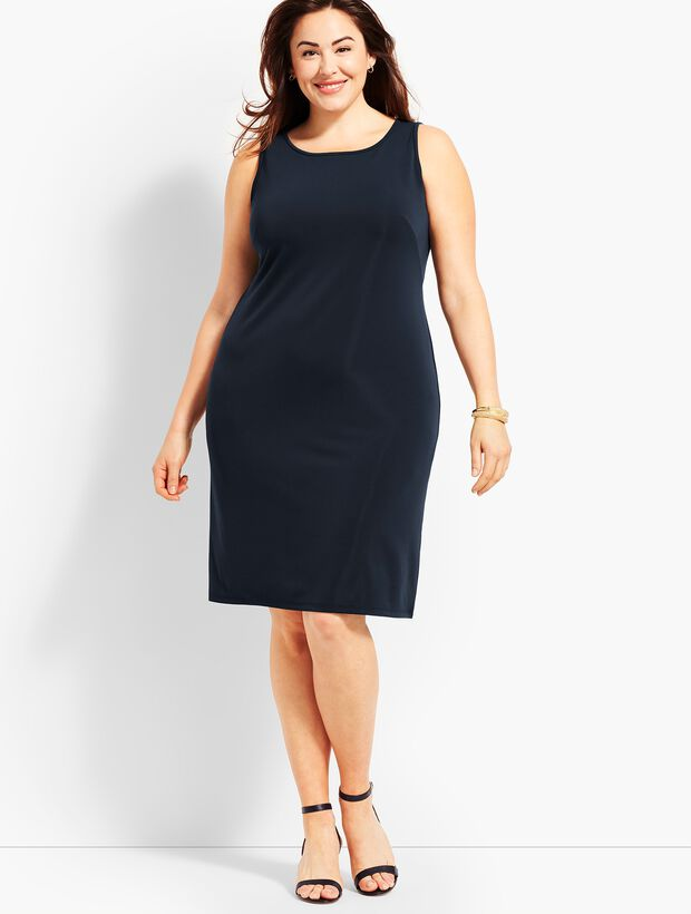 Sleeveless Matte Jersey Knit Shift Dress