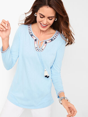 Embroidered Tassel-Tie Tunic