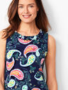 Pleat-Neck Shift Dress - Paisley
