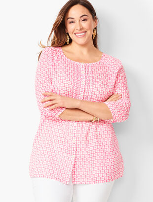 Plus Size - Floral Pintuck Popover
