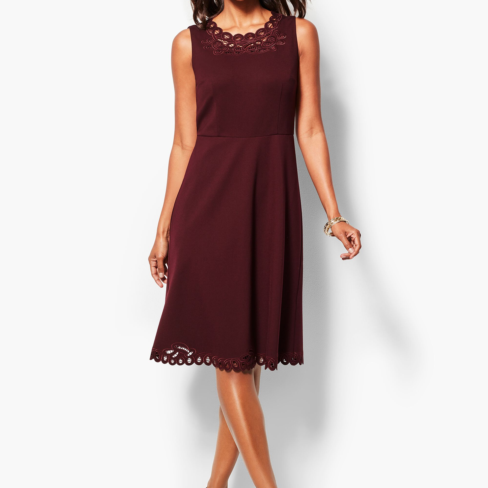 Embroidered Ponte Dress Talbots