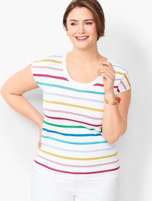 Cap-Sleeve Sweater - Metallic Stripe