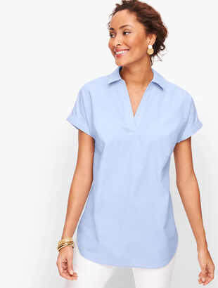 Poplin Split Neck Shirt - End On End