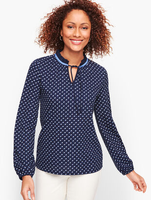 Pleated Tie Neck Top - Dot