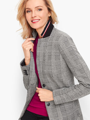 Aberdeen Knit Blazer - Glen Plaid Ponte