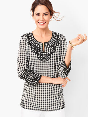 Embroidered Gingham Popover